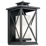 """Kichler - Outdoor Wall 1-Light - This 18"""" 1 light outdoor wall lantern with Piedmont's classic outdoor lantern style includes a signature cross-hatch pattern set in a classic Distressed Black finish. Inside, the lantern gets even more authentic: a White Mica glass square shade simulates the look of a candle, for a timeless effect."""