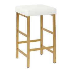 "Office Star Products - 26"" Gold Backless Stool, White - Bar Stools and Counter Stools"