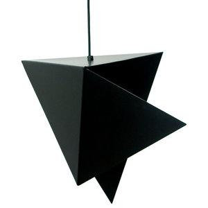 Large Geometric Steel Pendant Light, Black