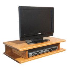 The Oak Furniture Shop   Flat Screen Solid Oak TV Riser, Golden Oak    Entertainment