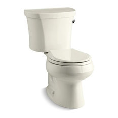 Kohler Wellworth 2-Piece Round 1.28 GPF Toilet With Right-Hand Lever, Biscuit