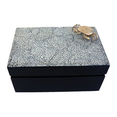 Decorative Rectangular Box, Silver Plated Crab, Black and White Cracked Eggshell
