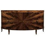Decorative Crafts - Pinasca Credenza - Demilune credenza with mahogany veneer, four curved doors, mahogany legs,