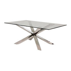 95-inch Modern Clear Glass Conference Table Silver Or Gold Stainless Steel Base