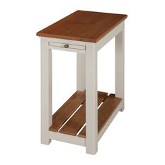 Savannah Chairside End Table With Pull-out Shelf Ivory With Natural Wood Top