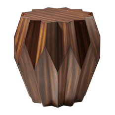 Wood Star Shaped Origami Table, Faceted Drum Midcentury Angles Round