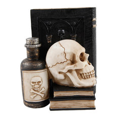 Polyresin Book, Posion and Skull Bookend