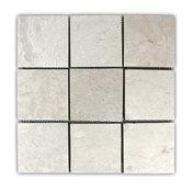 "12""x12"" Cream Stone Mosaic Tile"