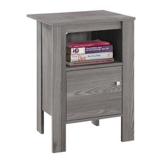 Accent Table, Gray Night Stand With Storage