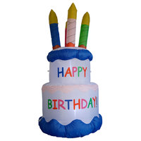 Inflatable Happy Birthday Cake with Candles, 6'