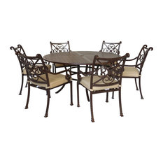 Newport Cast Rose Ebony Aluminum 7-Piece Round Dining Set With 6 Arm Chairs