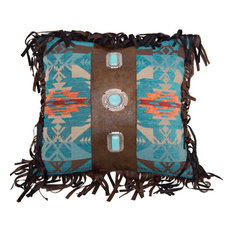 Turquoise Concho Faux Leather Southwestern Pillow