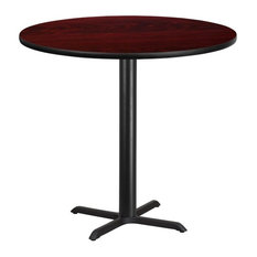 Bowery Hill 42-inch Round Restaurant Bar Table In Black And Mahogany