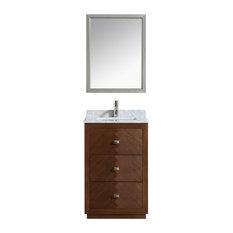 Aquamoon Baltimore Modern Bathroom Vanity With Mirror Hazelnut 24-inch