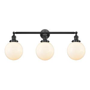 Beacon 3-Light LED Bath Fixture, Oil Rubbed Bronze, Glass: Matte White Cased