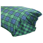 Thread Experiment - Blackwatch Plaid Sateen Comforter Set, King/Cal King - Classic Scottish tartans are reinvented in our Thread Experiment Blackwatch Print Matte Sateen Comforter Set. This subdued tartan is created when the green and blue plaid is separated by black to reveal this traditional Blackwatch design. Perfect for adding authentic Scottish charm and classic menwear tartan plaid to your bedroom.  Conveniently machine washable. Available in Twin/Twin Extra Long, Full/Queen, King/California King. Each set comes with a comforter and pillow sham(s).