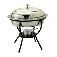 Oval Polished Nickel over S/S Chafing Dish, 6 Qt.