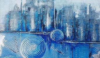 Blaue Stadt im Nebel 40x40cm
