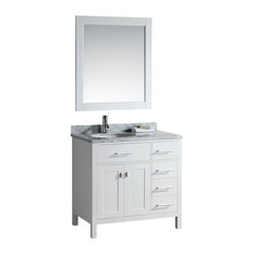 "London 36"" Single Sink Vanity Set, Drawers on Right, White"