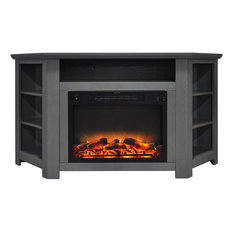 """Stratford 56"""" Electric Corner Fireplace, Gray With Enhanced Fireplace Display"""