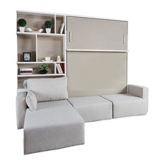 Royal Queen Wall Bed With Sectional Sofa & Bookcase, Semi-Gloss White & Beige