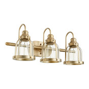 3-Light Banded Dome Vanity Fixture, Aged Brass