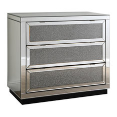 Sylas 6 Drawer Silver Crystal Mirrored Hall Chest