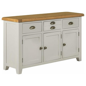 Traditional Sideboard, Grey Painted Solid Wood With Oak Top, Doors and Drawers