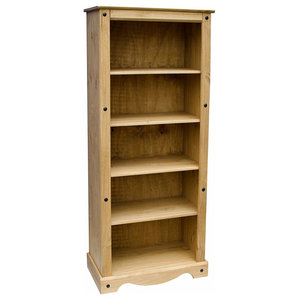 Traditional Design Large Bookcase in Solid Pine Wood With 5 Compartments