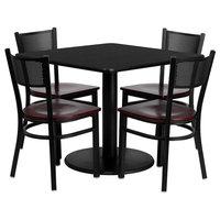 "36"" Square Black Laminate Table Set, 4 Grid Back Metal Chairs-Mahogany Wood Seat"