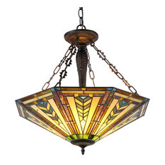 "CHLOE Lighting, Inc. - HARRISON, Tiffany-style 3 Light Inverted Ceiling Pendant, Fixture, 25"" Shade - Pendant Lighting"
