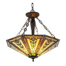 Chloe Lighting Inc Harrison Tiffany Style 3 Light Inverted Ceiling Pendant