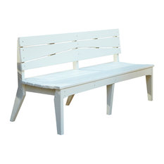 Uwharrie Chair Company, Inc. - Hourglass 4-Seat Bench With Back, Natural - Outdoor Benches