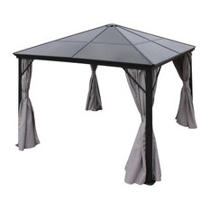GDF Studio Bali Outdoor 10'x10' Aluminum Framed Gazebo With Curtains, Gray/Black