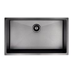 "Ancona 30"" Prestige Series Undermount Kitchen Sink, Gunmetal PVD Nano"