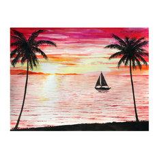"""Mike Bennett Tropical Sunset #2 Art Print, 9""""x12"""""""