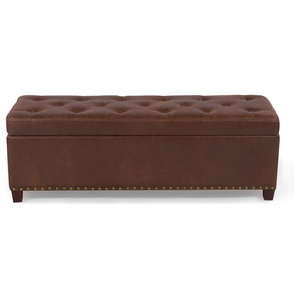 Groovy Hudson Ottoman Bench Dark Brown Transitional Footstools Ncnpc Chair Design For Home Ncnpcorg