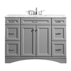 "Naples Vanity in Grey with Carrara White Marble Countertop, 48"", Without Mirror"
