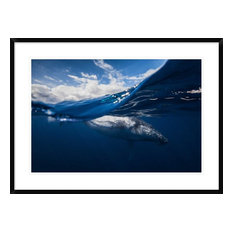 """""""Humpback Whale And The Sky"""" Framed Digital Print by Barathieu Gabriel, 38""""x28"""""""