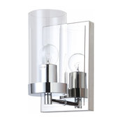 Chrome Frame Wall Sconce With Clear Glass Cylinder Shade