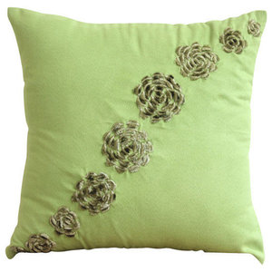 Green Origami Flower 35x35 Faux Suede Cushions Covers for Couch, Green Sawaan