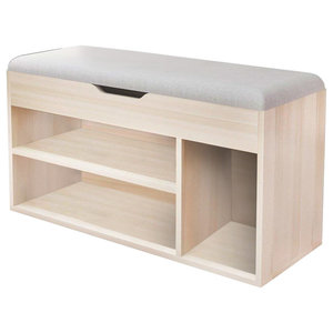 Contemporary Storage Bench, MDF With 3 Compartments and Removable Cushion, Grey
