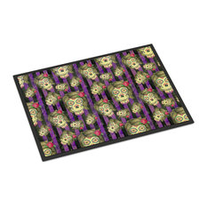 Watecolor Day of the Dead Halloween Indoor or Outdoor Mat, 18x27