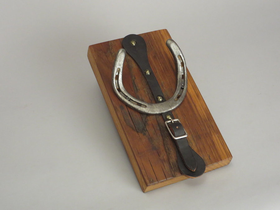 #R15006 Coat Racks Reclaimed Chestnut, horseshoes, leather.