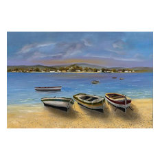 """""""Beached Boats"""" Canvas Painting by H. Hargrove, 36""""x24"""""""