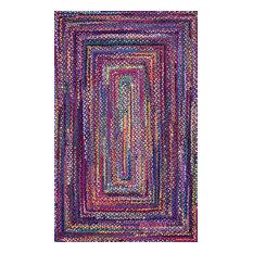 "Bohemian Hand-Braided Chindi Area Rug, Blue, 2'6""x8' Runner"