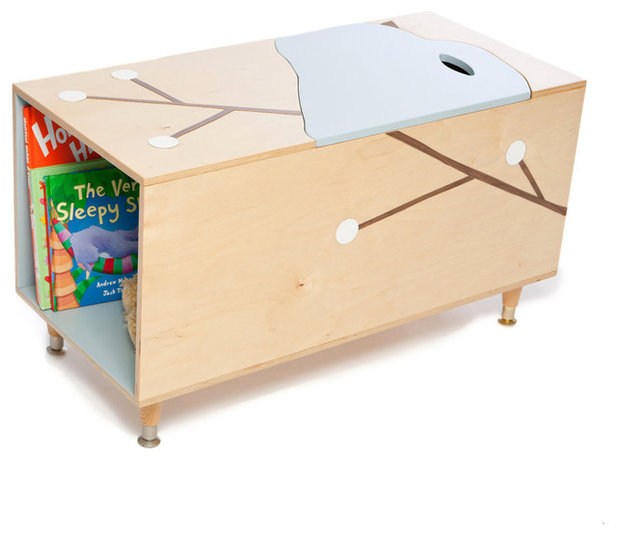 Modern Kids Storage Benches And Toy Boxes The Maude Toy Box With Book Cubby  By Mod