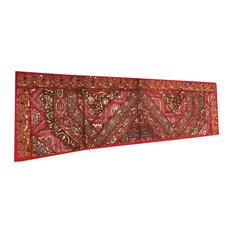 Mogul Interior - Red Sari Patchwork, Sequin Embroidery Tapestry - Table Runners