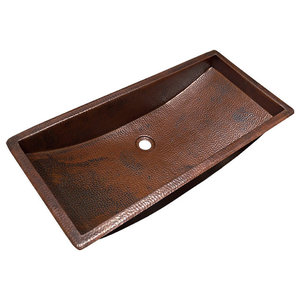 """Native Trails CPS200 Copper 30"""" Trough Style Bathroom Sink for Drop In or Under"""