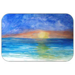 "Mary Gifts By The Beach - Sunset Beach Bath Mat, 20""x15"" - Bath mats from my original art and designs. Super soft plush fabric with a non skid backing. Eco friendly water base dyes that will not fade or alter the texture of the fabric. Washable 100 % polyester and mold resistant. Great for the bath room or anywhere in the home. At  1/2 inch thick our mats are softer and more plush than the typical comfort mats.Your toes will love you."